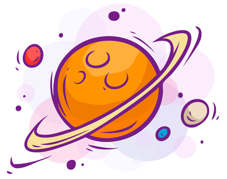 Cartoon colorful space illustration. Saturn, planets and stars. Vector icons