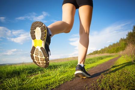 people running: running outdoors Stock Photo