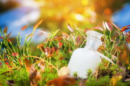 Natürliche Medizin oder Kosmetik. Flasche auf dem Moos Standard-Bild - 52234660