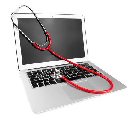 insurance themes: laptop and stethoscope