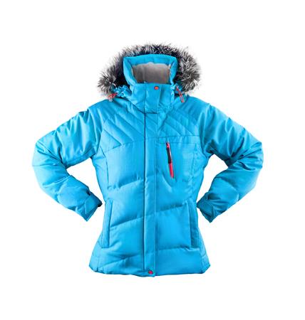 bata blanca: chaqueta de invierno aislado en blanco