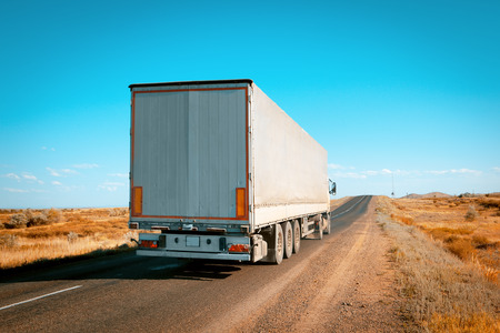 semi truck: freight truck on the road Stock Photo