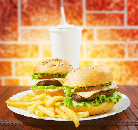 american food: fastfood burgers, soda and fries