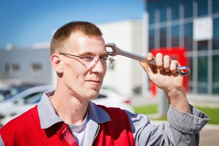 serviceman: auto maintainance serviceman Stock Photo