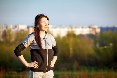 healthy people: outdoor training Stock Photo