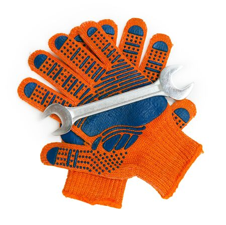 work gloves: wrench and work gloves