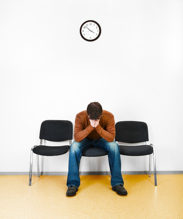only man: waiting room Stock Photo