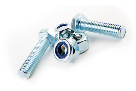 metal fastener: bolt and nut Stock Photo