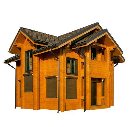 houten huis geïsoleerd op wit Stockfoto