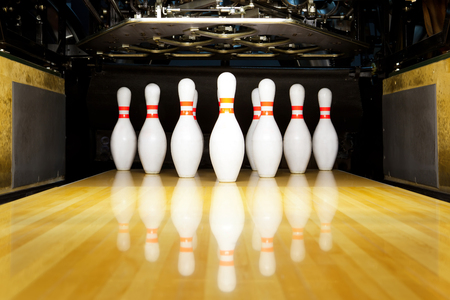 bowling alley: bowling pins