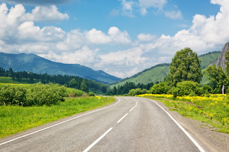 rural scene: road in mountains Stock Photo