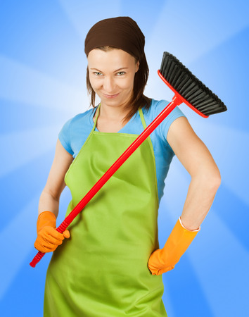 sceptic: sceptic woman with broom