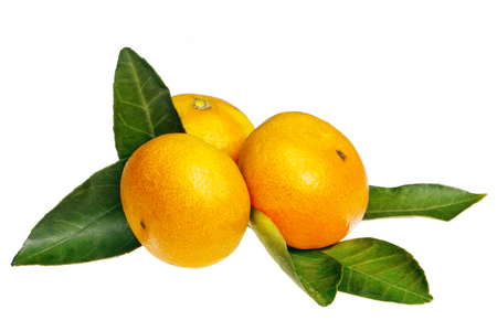 upperdeck view: tangerines isolated on white