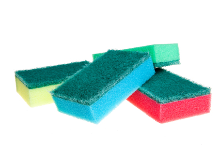cleaning sponge isolated on white Banco de Imagens