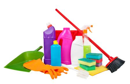 productos de limpieza aislados en blanco Foto de archivo