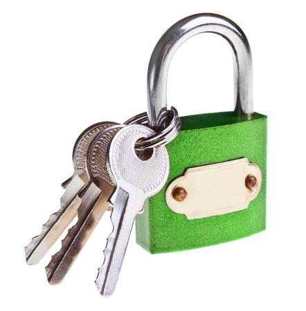 safeguards: padlock and keys isolated on white Stock Photo