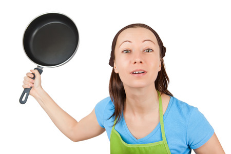 frying pan: angry woman with frying pan