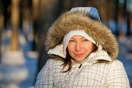 fake smile: frozen winter woman Stock Photo