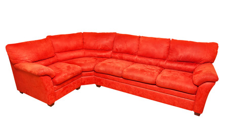 white sofa: red sofa isolated on white Stock Photo