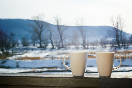 coffee cups: two coffee cups outdoors