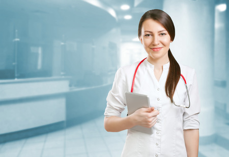 southern european descent: young female doctor or nurse Stock Photo