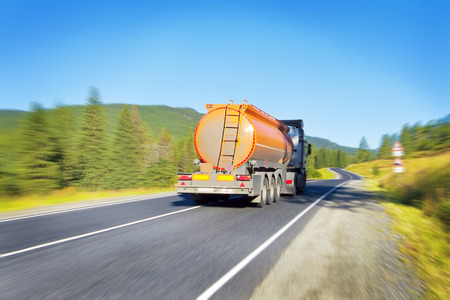 cary: fuel tanker truck Stock Photo