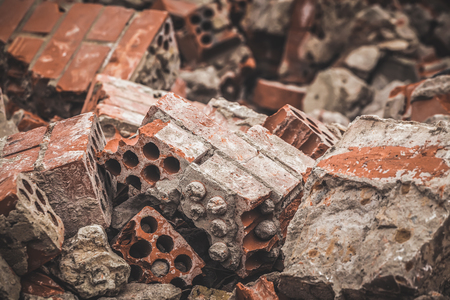 Broken building. Crashed bricks. Stock Photo