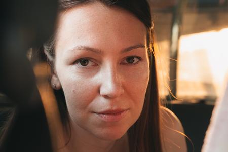 No make up woman portrait.