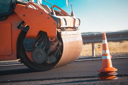 road construction. steamroller.