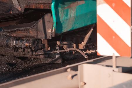 Asphalt Paving Machine. Road construction. Lizenzfreie Bilder