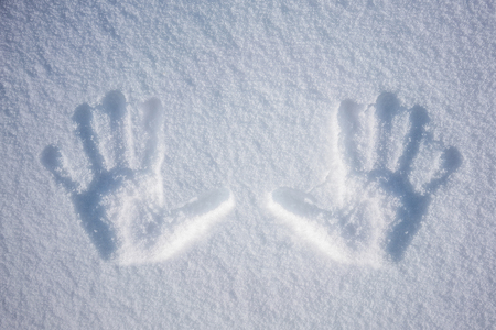 Hand print in snow