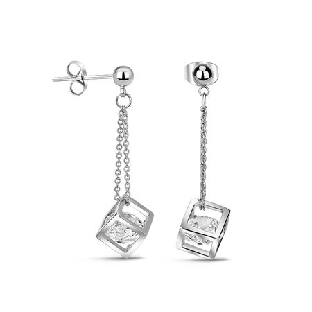 Isolated image of jewelry on a white background. Retouched decorations. Rings, earrings, precious stones. Womens necklace. Womens square earrings on a chain with precious stones inside.
