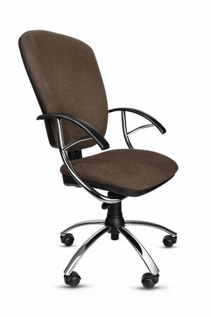 Shiny metal office chair on wheels on a white background. Brown armchair on wheels for office. Banco de Imagens