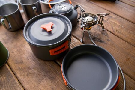 dishes for camping and tourism are on the table