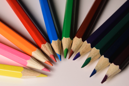 R: colored pencils lying waves from light to dark Stock Photo