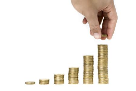mount price: a mountain of money on a white background