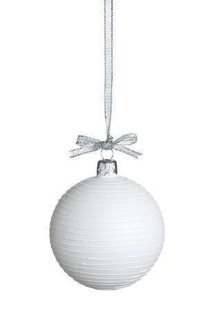 silver balls: White Christmas ball with silver string isolated on pure white background. Stock Photo