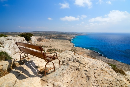 Bench with a view over Mediterranean Sea. Cape Greco, Northern Cyprus 스톡 콘텐츠