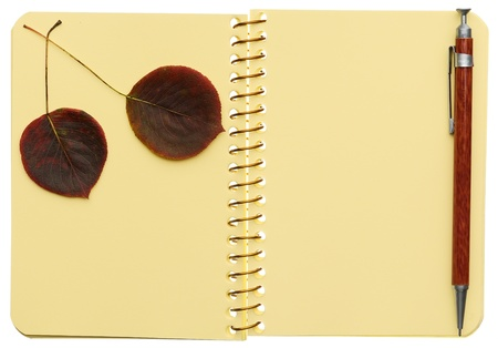 Open spiral notebook with two autumnal leaves and pen isolated on white background photo