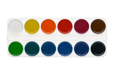 Simple watercolor paints palette isolated on white background, top view photo