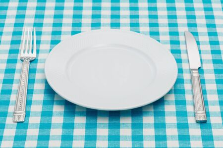 Empty dinner plate with fork and knife on blue and white checked gingham tablecloth Standard-Bild