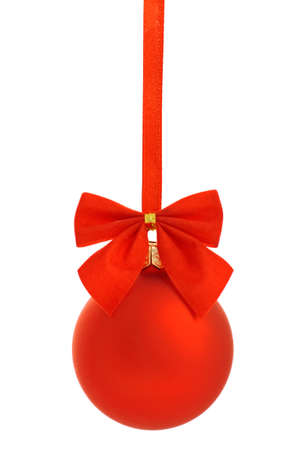 Red christmas ball  with red ribbon isolated on white Stock Photo - 11703290