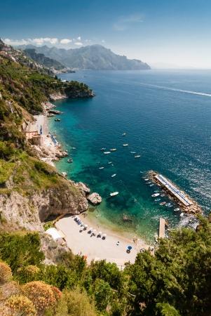 View of the Amalfi Coast of Tyrrhenian Sea  Campania, Italy   Photo taken in June 2012