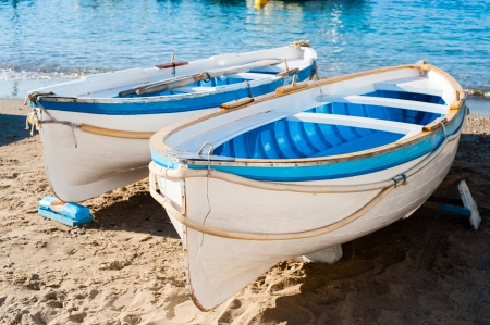 Two traditional wooden boats in the harbor at Marina Grande - Capri, Italy