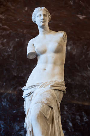 The Venus Di Milo, a sculpture of the Roman goddess Venus, is known by the Greeks as Aphrodite   It is currently on permanent display at the Louvre Museum in Paris  Stock Photo
