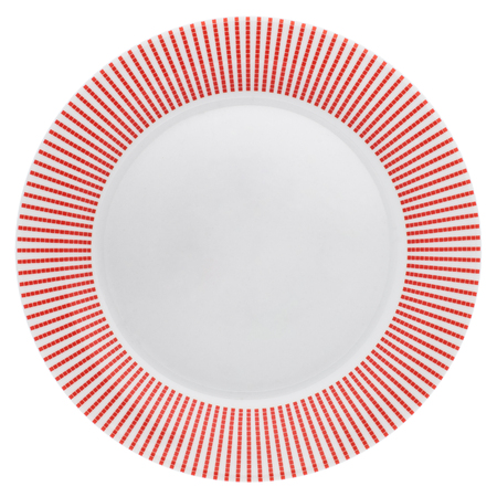 empty plate: Empty dinner plate with red border from above isolated on white.