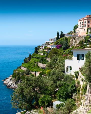 amalfi: View of the Amalfi Coast of Tyrrhenian Sea (Campania, Italy). Stock Photo