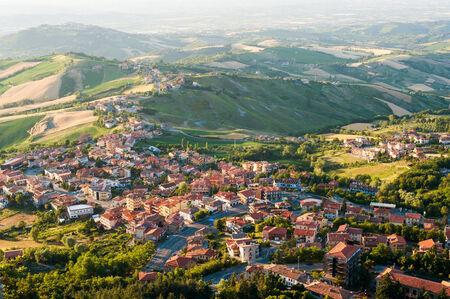 san marino: Modern San Marino Suburban districts view from above. Horizontal shot. Stock Photo