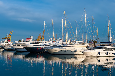 anchored: Marina in Valencia, Spain, Mediterranean sea.