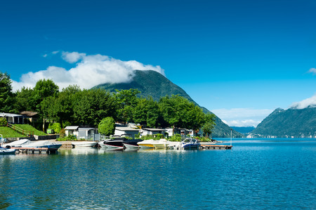 recreational vehicle: View of Lugano lake in Porlezza, Lombardy, Italy. Stock Photo